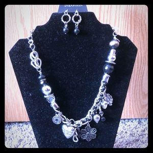Black and Silver Charm Necklace and Earring Set
